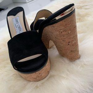 Beautiful Black Suede Sandal Wedges